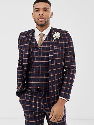 Asos Chaqueta de traje ajustada en azul marino con cuadros estilo  cristalera de ASOS DESIGN Wedding 4ebdee65588