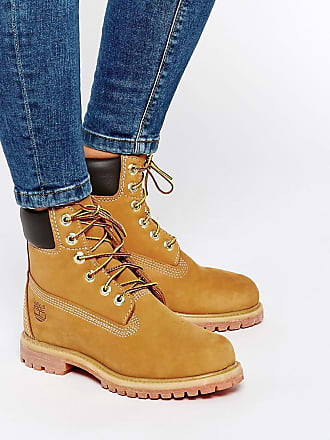 Timberland 6 inch premium lace up beige flat boots - Beige