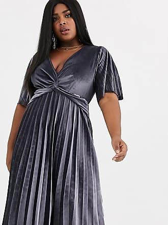Asos Curve ASOS DESIGN Curve - Vestito midi a kimono con pieghe e dettaglio ritorto in velluto-Argento