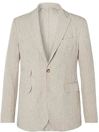 Man 1924 Ecru Kennedy Slim-fit Unstructured Striped Linen Suit Jacket - Ecru