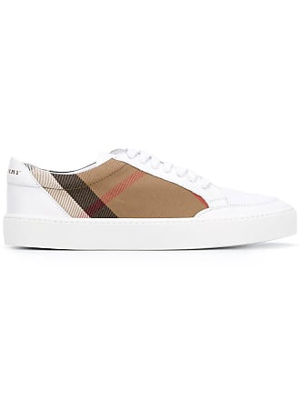 e391f2cb722 Burberry Check Detail Leather Sneakers - White