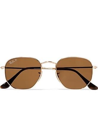 Ray-Ban Hexagon-frame Polarized Gold-tone Sunglasses