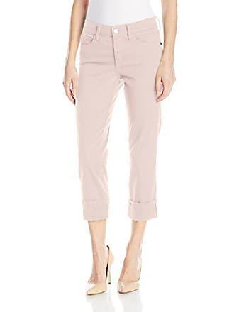 NYDJ Womens Dayla Wide Cuff Capri Jeans in Colored Bull Denim, Pink Chiffon, 14