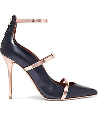 b677431fa02a Malone Souliers Robyn 100 Metallic Leather Pumps - Navy