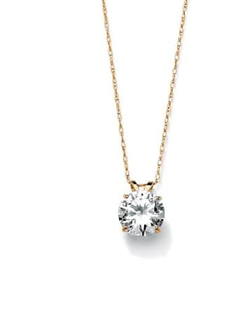 PalmBeach Jewelry 2 TCW Round Cubic Zirconia Solitaire Pendant Necklace in 10k Gold
