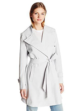 Trina Turk Womens Phoebe Trench Coat, Silver, 6