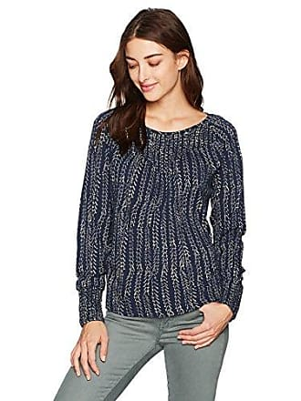 Lucky Brand Womens Chevron Print Smocked Top, Navy Multi, S
