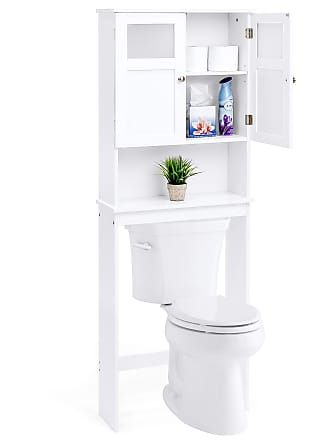 Best Choice Products Bathroom Over-the-Toilet Space Saver Double Door Linen Toiletry Storage Cabinet Tower - White