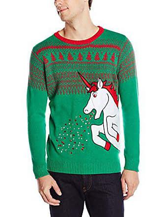 Blizzard Bay Mens Big Sparkle Unicorn Ugly Christmas Sweater, green, Medium