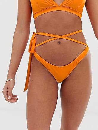 Wolf & Whistle Esclusiva Wolf & Whistle - Eco - Slip bikini arancioni con allacciatura avvolgente-Arancione