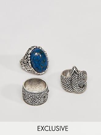 16be4d287a08 Reclaimed Vintage Pack de anillos gruesos en plateado pulido con serpiente  y piedra de Reclaimed Vintage