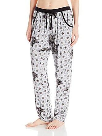 Natori Womens Challis Kangaroo Pant, Black with White, XL