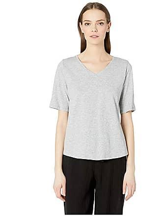 Eileen Fisher V-Neck Short Sleeve Tee (Dark Pearl) Womens T Shirt