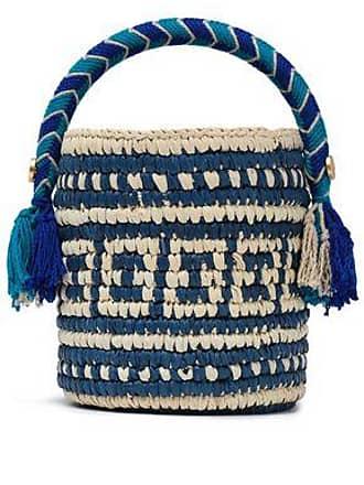 Yosuzi Yosuzi Woman Tara Tasseled Toquilla Straw Bucket Bag Royal Blue Size