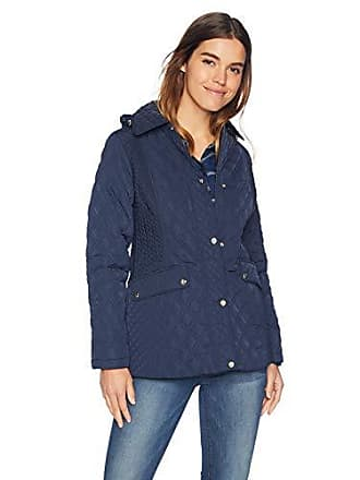 Jones New York Womens Quilted Jacket with Hood, Midnight, M