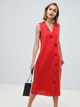 cd8436fcf4 Mango button detail midi dress linen in red