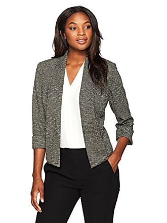 Kasper Womens Metallic Knit Flyaway Jacket, Ivory/Black, 4