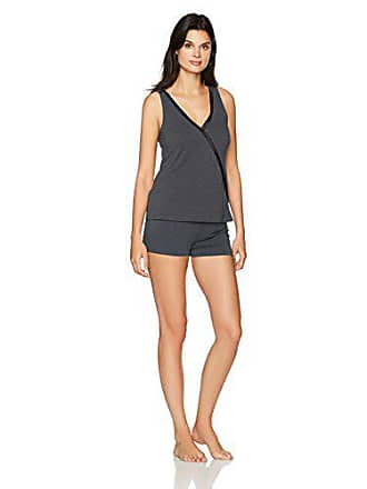 Maidenform Womens Dried Botanicals Satin Trim Crossover Tank Short Set, Charcoal Grey, Medium