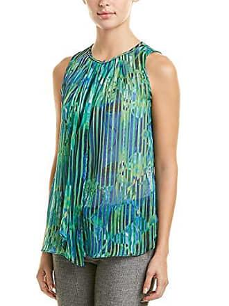 558904acba2fb T Tahari Womens Macario Printed Stripe Sleeveless Blouse