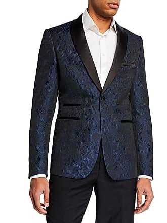 Neiman Marcus Mens Satin Shawl Collar Jacquard Blazer, Dark Blue