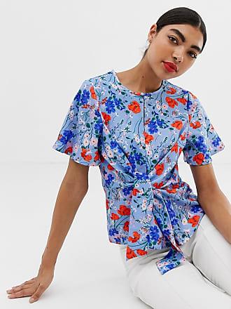 Unique21 Unique21 floral short sleeve tie top - Multi