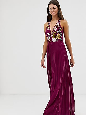efc44fde087a Asos Tall ASOS DESIGN Tall embroidered maxi dress with halter neck and pleated  skirt
