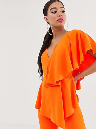 Yaura plunge front ruffle detail jumpsuit in orange