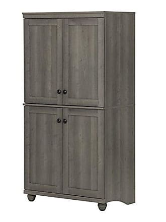 South Shore Furniture Hopedale Tall 4-Door Storage Cabinet with Adjustable Shelves, Gray Maple