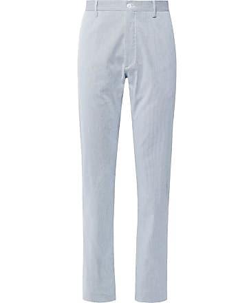 Zanella Noah Slim-fit Pinstriped Stretch-cotton Trousers - Blue