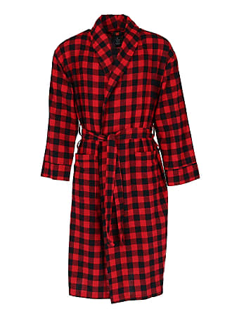553ad1cda986 Hanes Mens Cotton Flannel Dressing Gown with Pockets, Medium Large, Multi