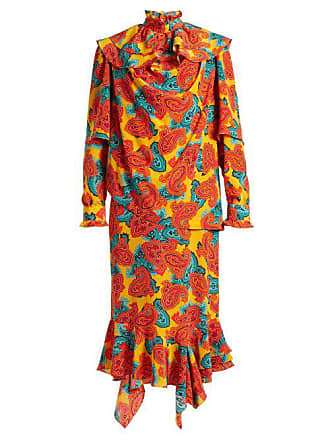 J.W.Anderson Jw Anderson - Paisley Print Silk Midi Dress - Womens - Orange Multi