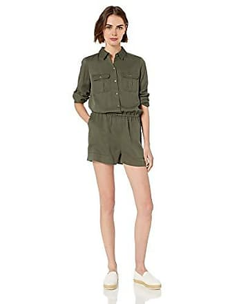 Daily Ritual Womens Tencel Long-Sleeve Utility Romper, Dark Olive, 2