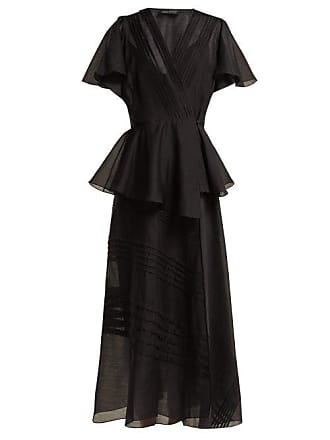 ANNA OCTOBER Pleated Organza Wrap Midi Dress - Womens - Black