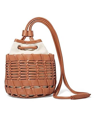 Hereu + Net Sustain Siana Leather And Organic Cotton-canvas Bucket Bag - Brown