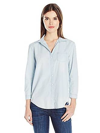 Calvin Klein Jeans Womens Easy Boyfriend Fit Button Down Shirt, True Indigo, X-Large