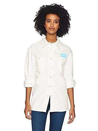 Calvin Klein Jeans Womens Long Sleeve Uniform Button Down Shirt, Summer White, XS