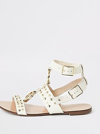 River Island Womens White studded gladiator sandals