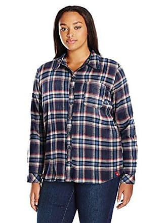 529dc503b Dickies Womens Plus-Size Long-Sleeve Plaid Flannel Shirt, Black Iris/Texas