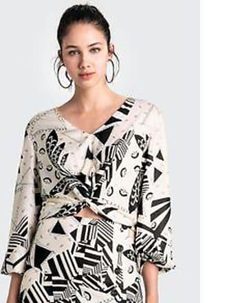Dzarm Blusa Estampada Em Tecido De Viscose Com Transpasse - Off White