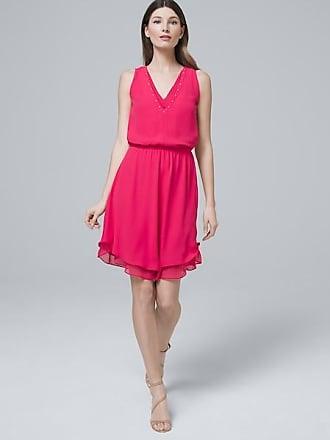 White House Black Market Womens Embellished Neck Soft Blouson Dress by White House Black Market, Bright Rose, Size 16