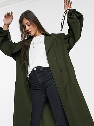 Asos Tall ASOS DESIGN Tall - Khaki Trenchcoat mit auffälligen Ärmeln-Grün