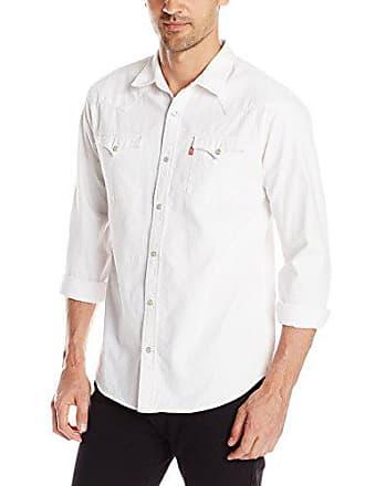 Levi's Mens Standard Barstow Denim Western, White, Small