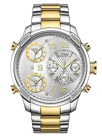 Zales Mens JBW G4 1/6 CT. T.w. Diamond 18K Gold Plate Two-Tone Watch with Silver-Tone Dial (Model: J6248M)