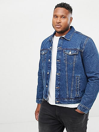 New Look Plus denim western jacket in blue - Black