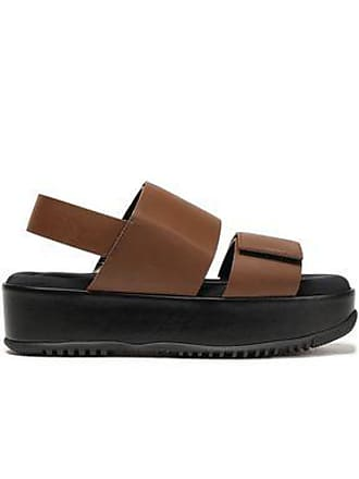 Marni Marni Woman Glossed-leather Platform Slingback Sandals Chocolate Size 35