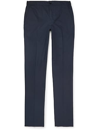 Incotex Navy Slim-fit Stretch-cotton Poplin Drawstring Trousers - Navy