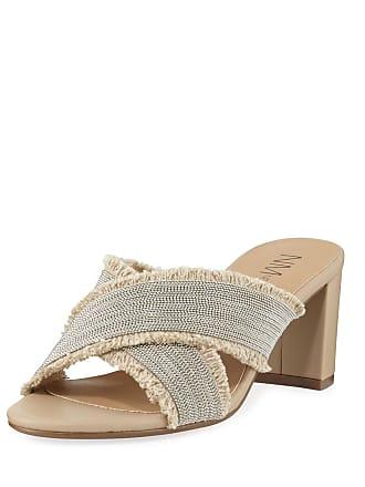 Neiman Marcus Mayday Beaded Slide Sandals