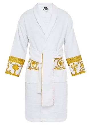 Versace I Love Baroque Logo Jacquard Cotton Bathrobe - Mens - White