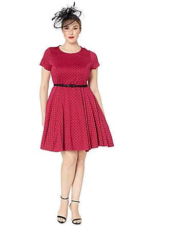 Unique Vintage Plus Size Short Sleeve Fit Flare Dress (Pink/Black Dot) Womens Dress