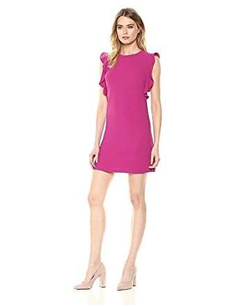 Nicole Miller Womens Ruffle Sleeve Shift Dress, Magenta, 2
